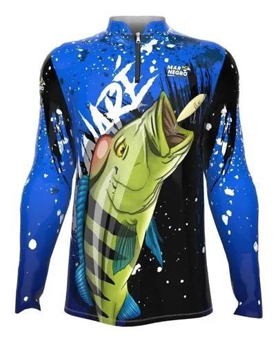 Camiseta camisa pesca mar negro prot uv50 tucunaré azul