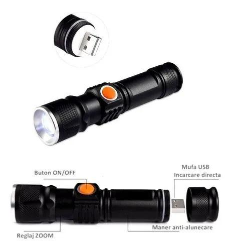 Kit 5 lanterna profissional tatica led t6 de 880000w usb