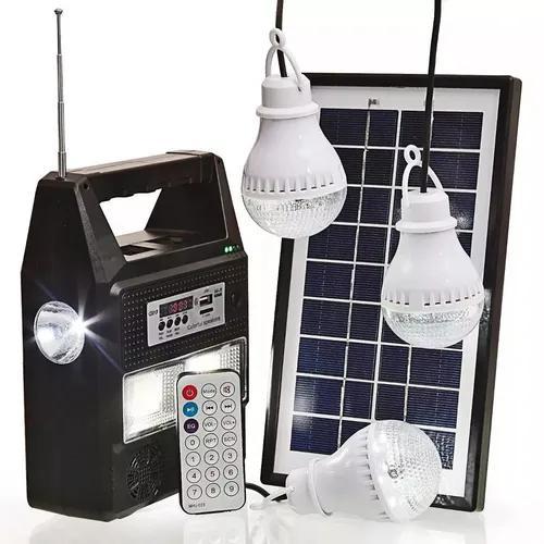 Kit energia solar para acampamento com rádio fm + 3