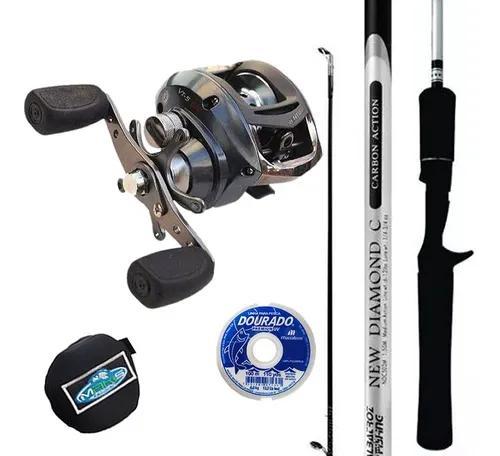 Kit pesca carretilha marine sports ventura vt5 vara e linha