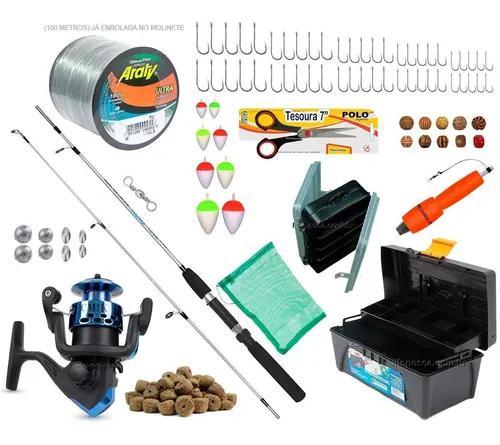 Kit pesca vara + molinete + caixa e acessórios frete