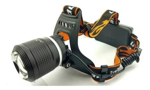 Lanterna de cabeça led t6 foco ajustável + bateria reserva