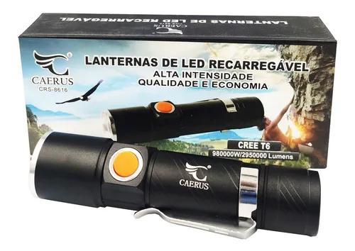 Lanterna profissional tatica led t6 usb recarregável