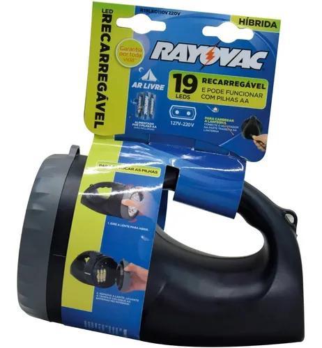 Lanterna recarregável hibrida rayovac 19 leds - bivolt nova