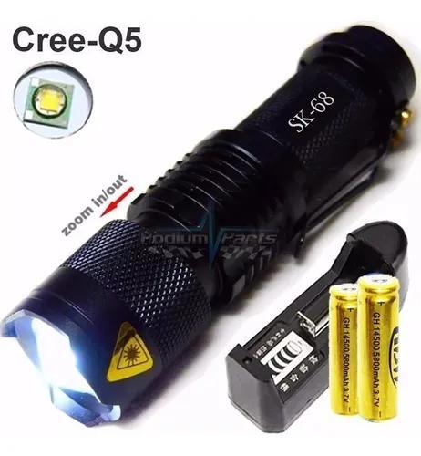 Mini lanterna led cree q5 tática recarregável longo