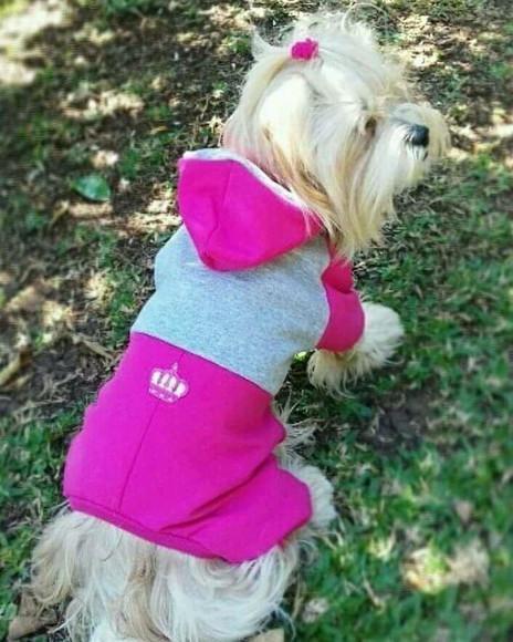 Roupa pet macacão rosa de moleton pet 4 patas. p/ cães