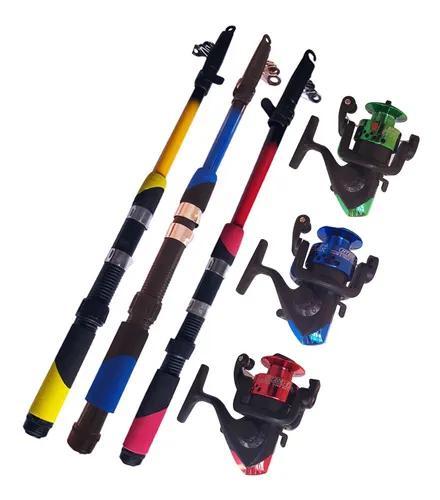 Vara de pesca kit 3 vara telescópica 150cm 3 molinete 2 mil
