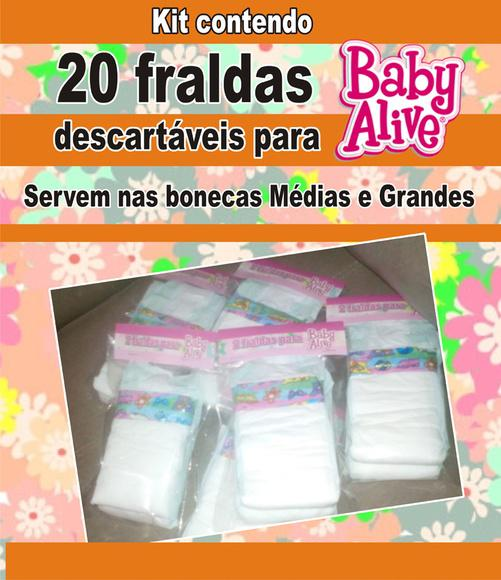 20 fraldas desc. para baby alive m e g