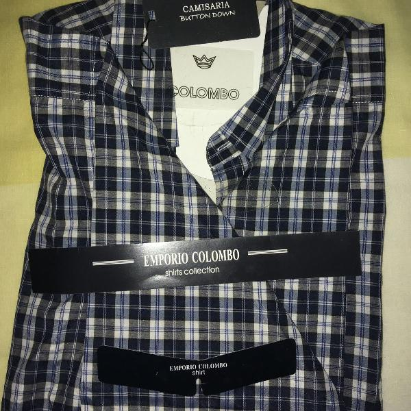 Camisa xadrez, marca colombo (button down), tamanho 3, manga