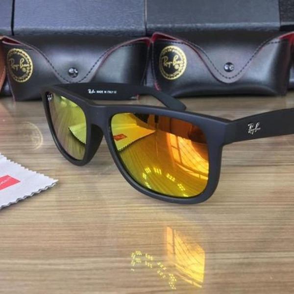 Oculos de sol rayban justin vermelho espelhado