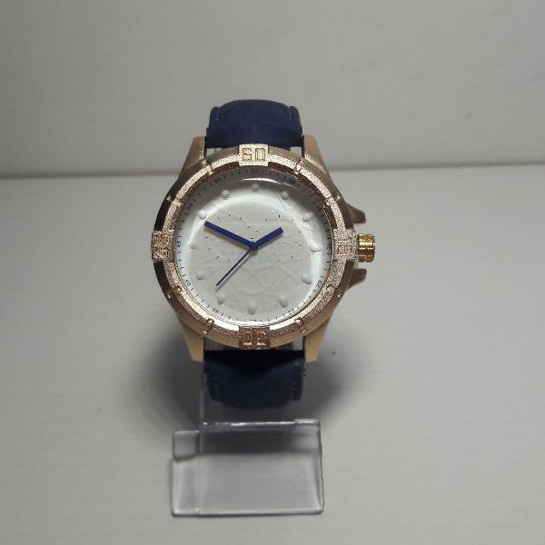 Relógio masculino pulseira de couro soft azul marinho e
