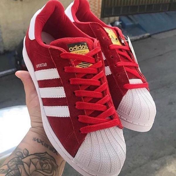 Tênis adidas superstar vermelho/branco masculino promoção