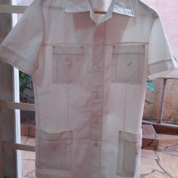 Blusa manga curta masculina branca vintage