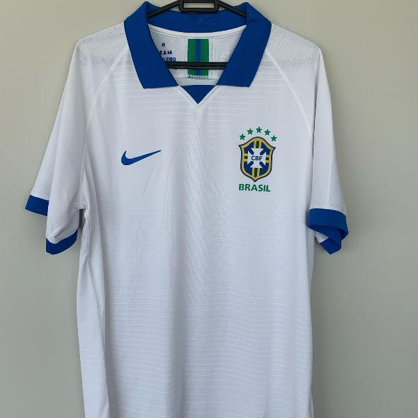 camisa nike brasil branca modelo jogador