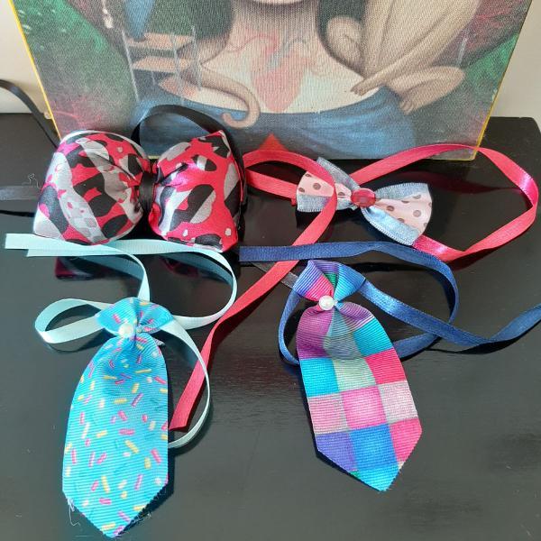Kit para pet - laços coloridos - porte pequeno e médio
