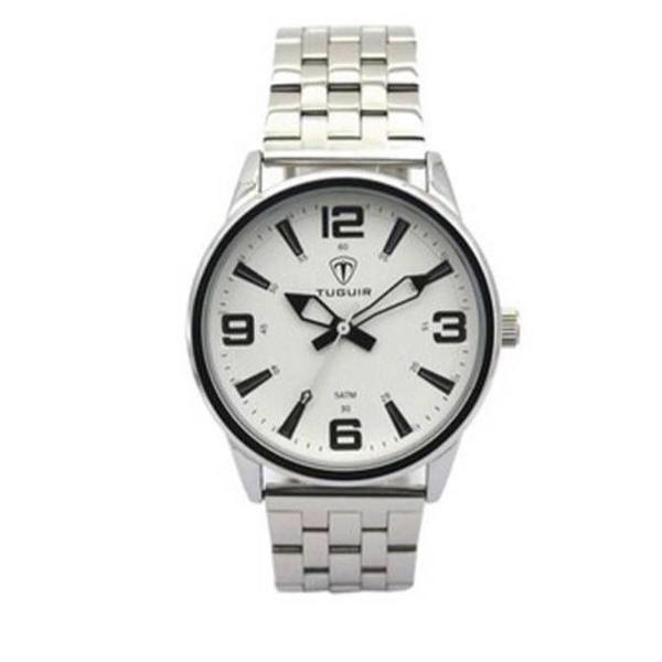 Relógio masculino prata analógico tendência presente