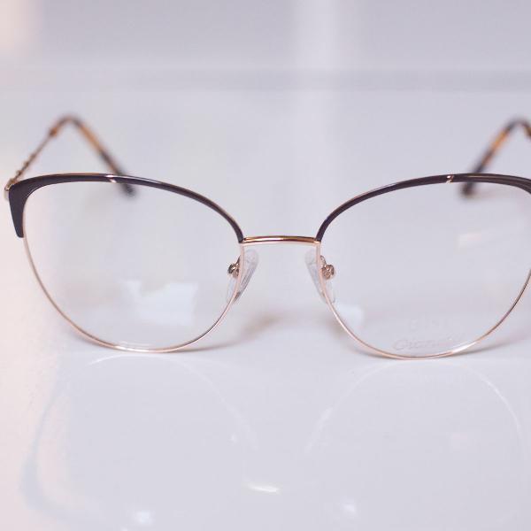 Armação óculos gatinho prata e marrom para grau