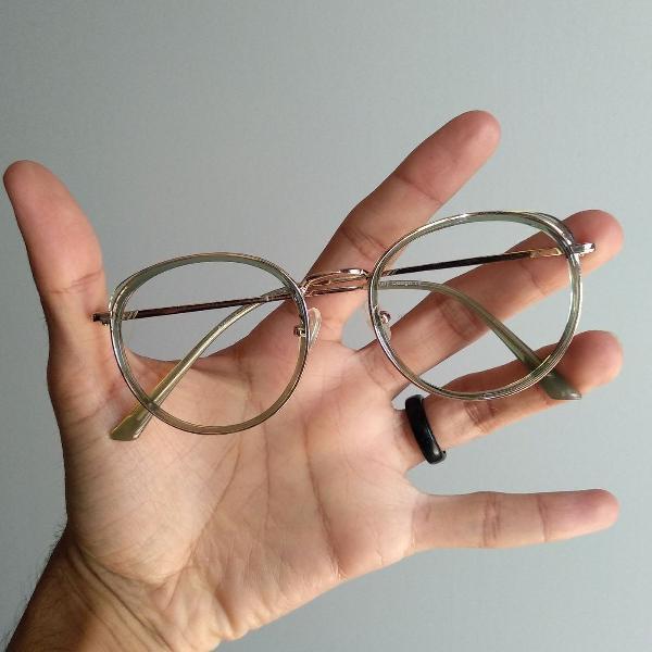 Armação óculos redondo verde para grau