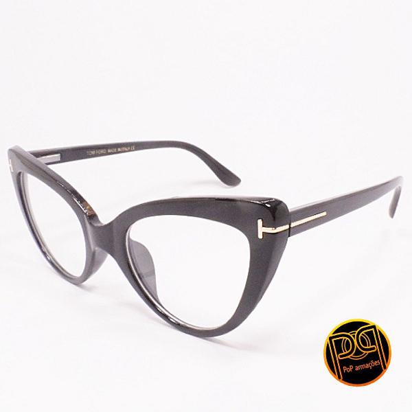 Armação de óculos feminino gatinho preto tom ford