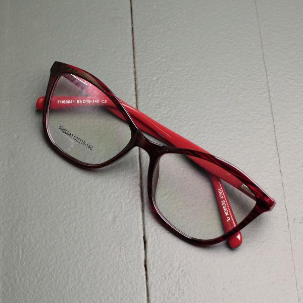 Armação de óculos para colocar grau vermelha e preta
