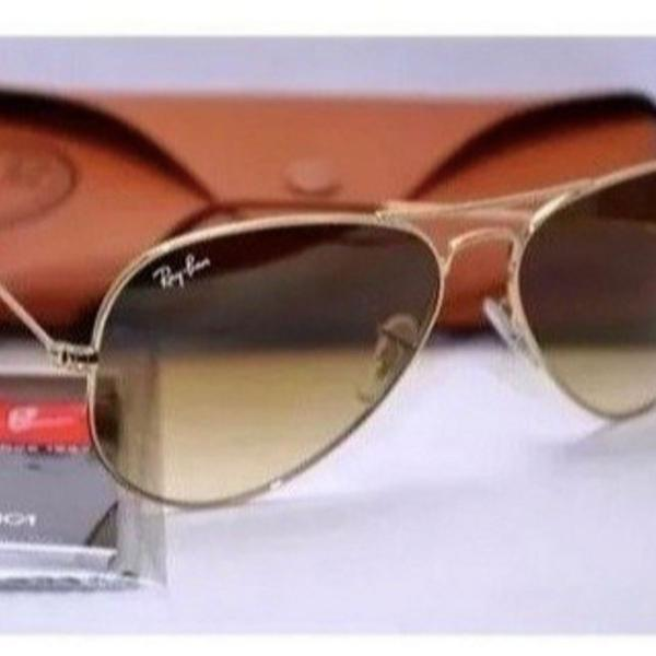 Oculos de sol rayban aviador marrom degrade
