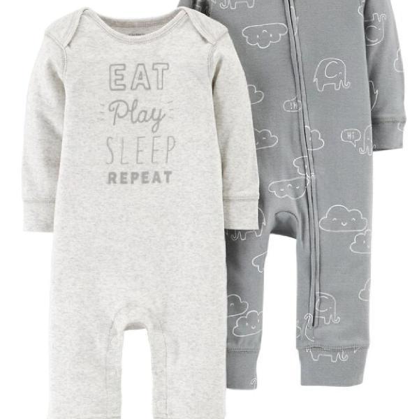 Kit macacão pijama carter's