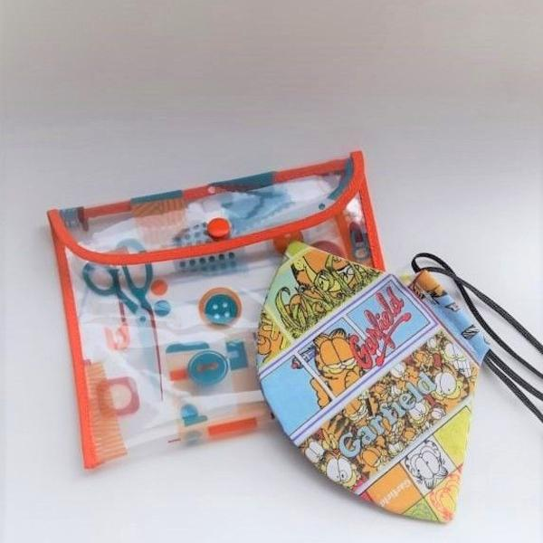 Kit máscara proteção garfield modelo bico de pato + porta