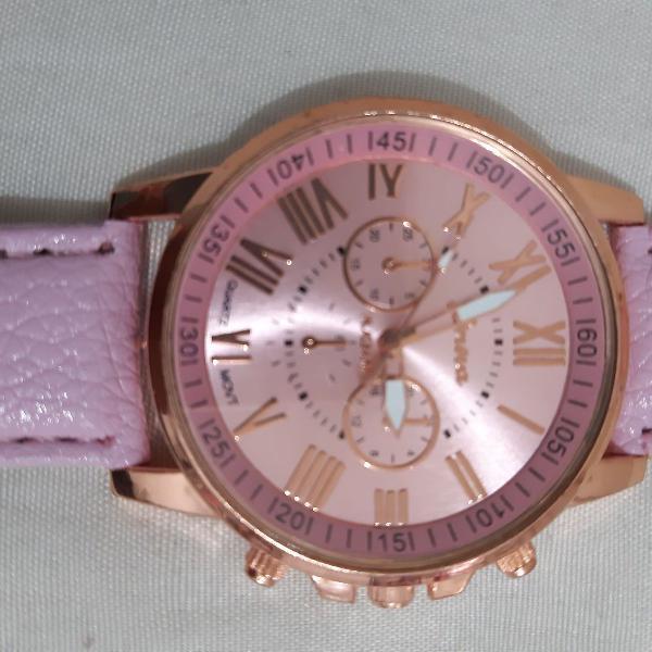 Relógio feminino ( novo) dourado e rosa. entrega imediata