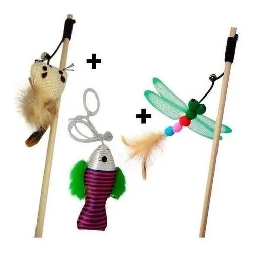 Brinquedo gatos varinha inseto ratinho e peixe pesca cat