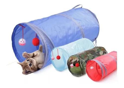 Brinquedo para gatos e cães túnel com bolinha portátil
