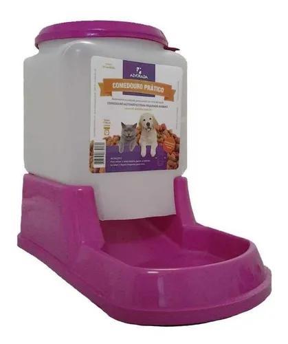 Comedouro prático automático cães e gatos rosa