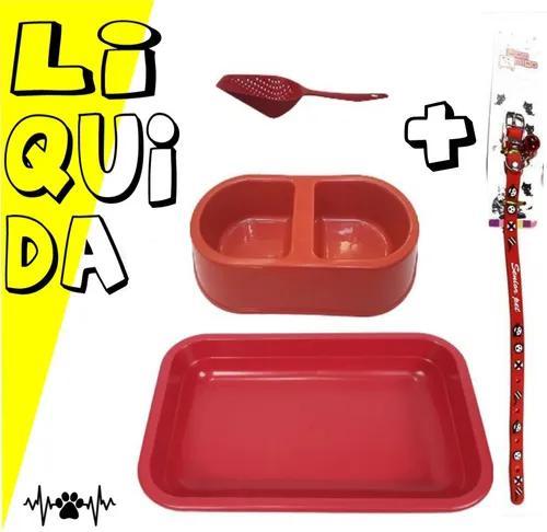 Kit caixa de areia p/ gato +pá + comedouro + coleira