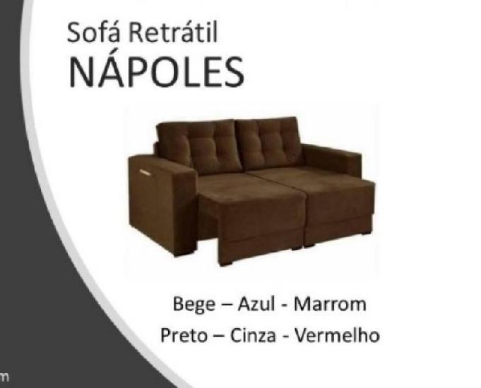 Sofá retrátil nápolis = frete grátis no município do rj