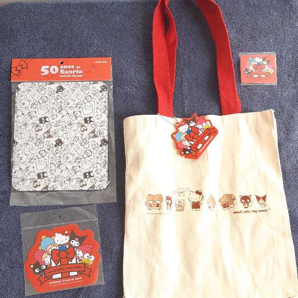 Kit mouse pad, adesivo, imã e sacola de algodão