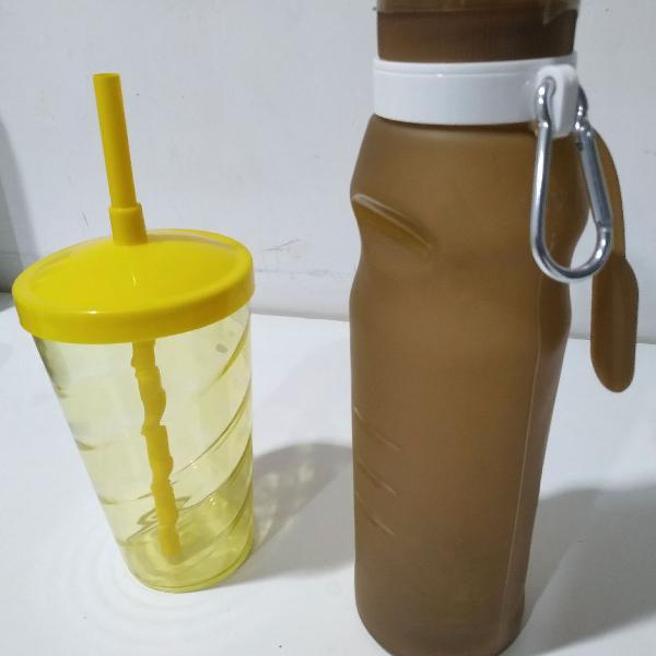 Garrafa squeeze dobrável+ brinde