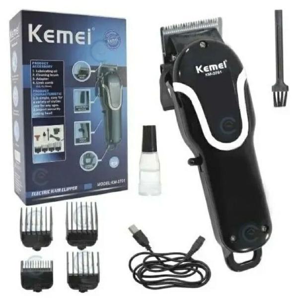 Maquina cortar cabelo sem fio profissional 5w kemei km-3701
