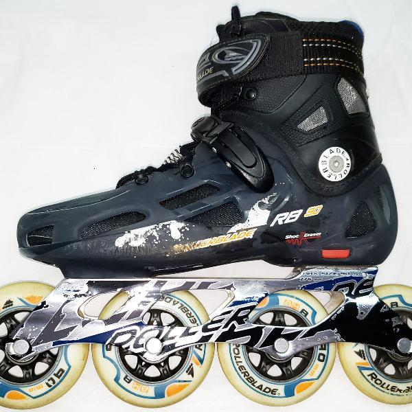 Patins rollerblade rb90 40br + kit de protetores pro traxart