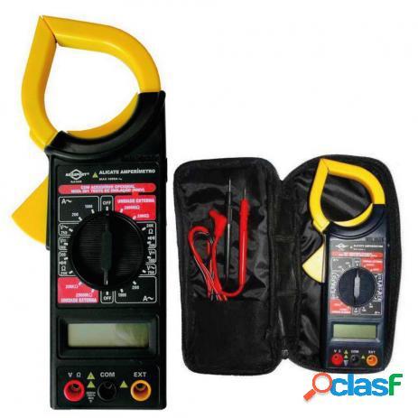 Multímetro alicate amperímetro digital com alarme sonoro e estojo