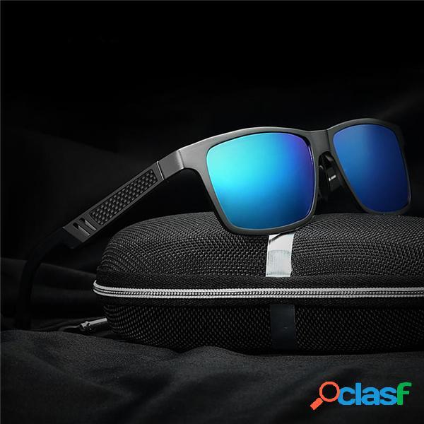 Proteção uv óculos de sol de liga polarizado masculino