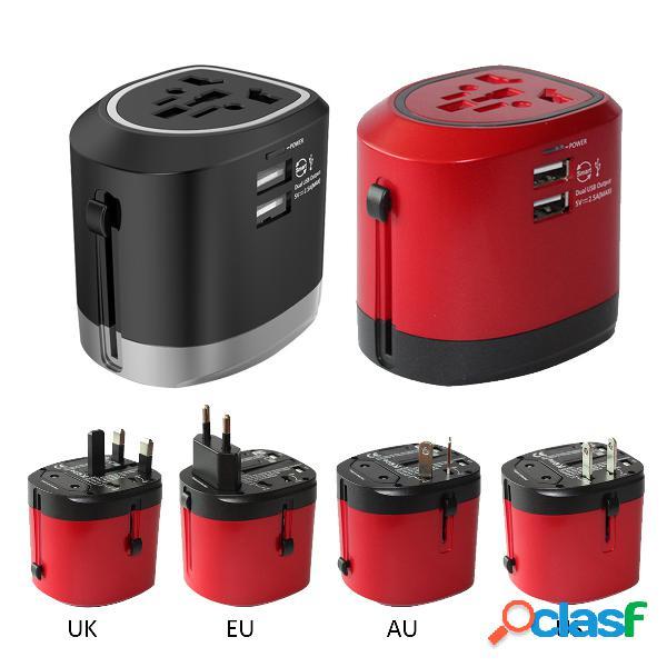 Ch-118 internacional universal travel adapter power adapter dual usb carregador au / uk / eua / ue
