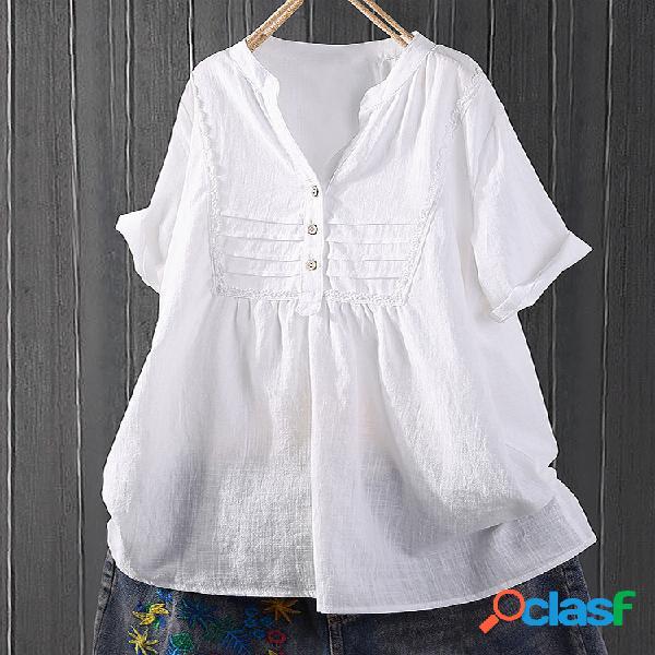 Manga curta camisa do colarinho aberto bonito do remendo do laço meio