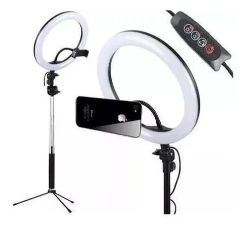 Iluminador ring light led anel de luz fotografia suporte cel