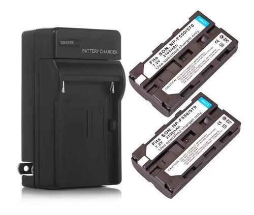 Kit 2x baterias np-f550 f570 + carregador led 2200mah hd160