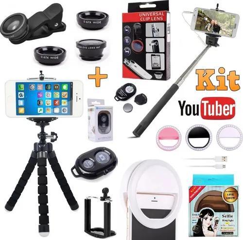 Kit acessórios youtuber tripé celular luz ring light