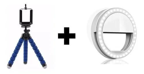Kit anel luz led ring selfie celular + tripé suporte