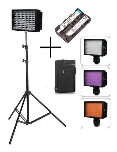 Kit iluminador led pro hd-160 + bateria 2200mah + carregador