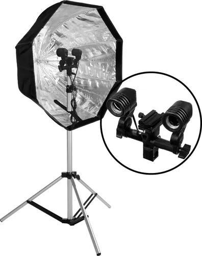 Kit iluminação para luz contínua e flash com tripe e