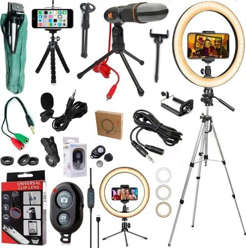 Kit youtuber microfone mesa tripé celular luz led ring