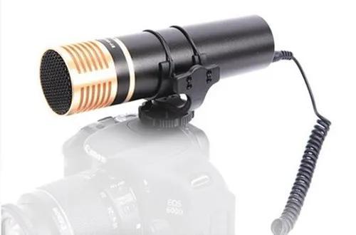 Microfone condensador estéreo para câmera dslr, filmadora