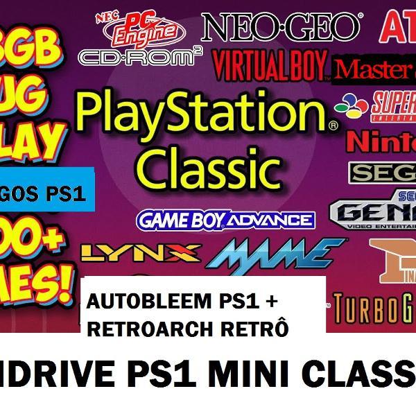Pendrive 128 gb 170 jogos ps1 classic mini +7000 jogos retro